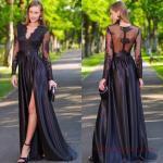2019 Abiye Elbise Modelleri Siyah Uzun Dantel V Yaka Yırtmaçlı Uzun Kol