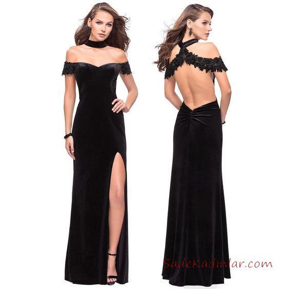 2019 Abiye Elbise Modelleri Siyah Uzun Geniş V Yaka Yırtmaçlı Sırt Dekolteli
