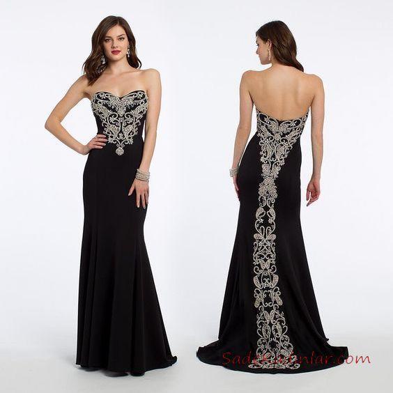 2019 Abiye Elbise Modelleri Siyah Uzun Straplez Kalp YAka Nakış İşlemeli
