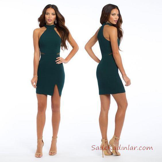 2019 Abiye Elbise Modelleri Yeşil Kısa Halter Yaka Yırtmaçlı Sade
