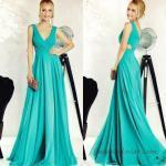 2019 Abiye Elbise Modelleri Yeşil Uzun Askılı V Yakalı Kloş Etekli