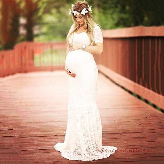 2019 Baby Shower Elbise Modelleri Beyaz Uzun Kısa Kollu Kalp Yaka Dantel