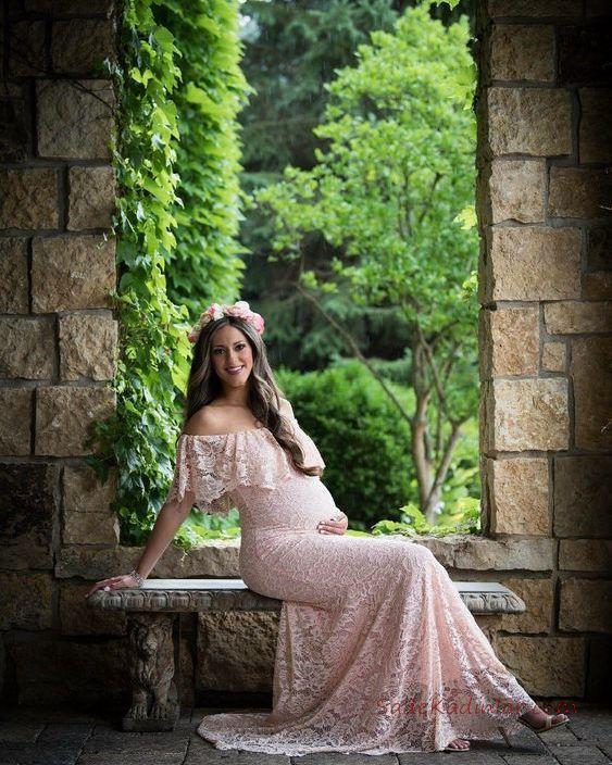 2019 Baby Shower Elbise Modelleri Pudra Uzun Straplez Düşük Kol Katlamalı Yaka Dantel