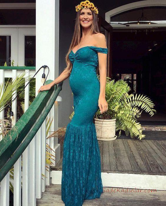 2019 Baby Shower Elbise Modelleri Yeşil Uzun Omzu Açık Düşük Şerit Kol Kalp Yaka