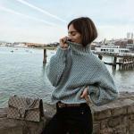 2019 Balıkçı Yaka Kazak Kombinleri Siyah Skinny Pantolon Gri Kısa Boğazlı Desenli Kazak