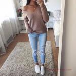 2019 Bi Pantolon Bi Kazak İle Şık Kombinler Buz Mavisi Yırtık Kot Pantolon Vizon V Yaka Tek Omzu Açık Kazak