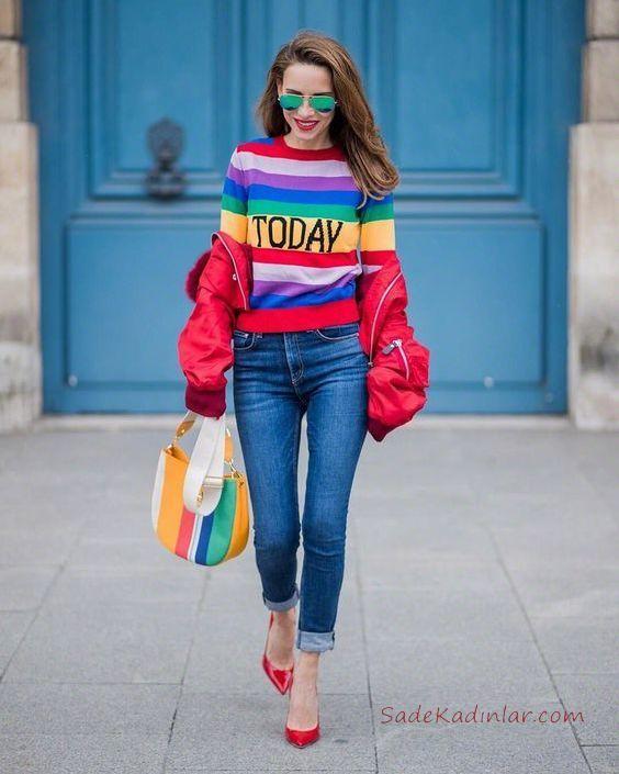 2019 Bi Pantolon Bi Kazak İle Şık Kombinler Mavi Skinny Kot Pantolon Renk Bloklu Kazak