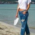 2019 Boyfriend Kot Modelleri Lacivert Bol Kesim Paça Detaylı Yırtık