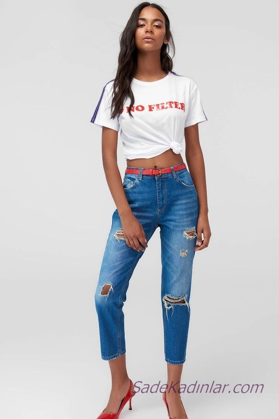 2019 Boyfriend Kot Modelleri Mavi Kısa Paça Yırtık