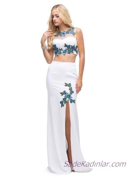 2019 Büstiyer Abiye Modelleri Beyaz Uzun Kolsuz Nakış İşlemeli Yırtmaçlı