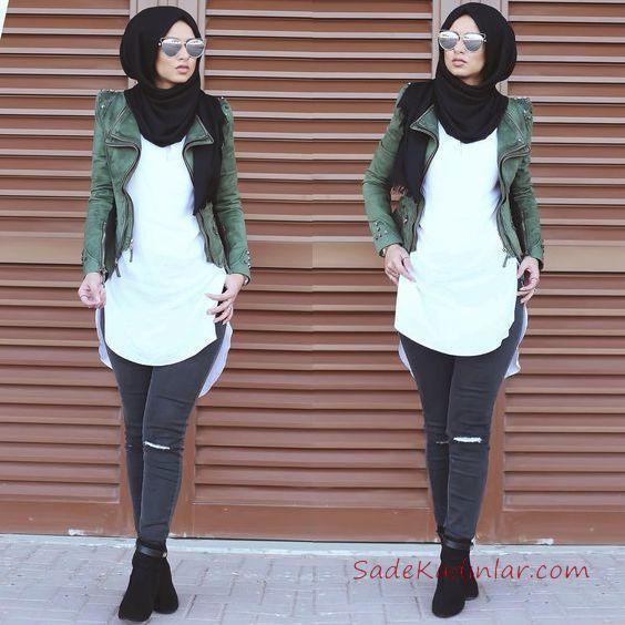 b54fa13881a17 2019 En Şık Tesettür Kombin Siyah Kot PAntolon Beyaz Tunik Gömlek Yeşil  Kısa Deri Ceket