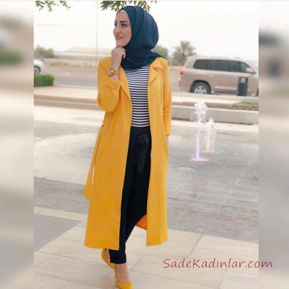 9cfd3e669ace6 2019 En Şık Tesettür Kombin Siyah Pantolon Siyah Çizgili Blux Sarı Uzun  Ceket · «