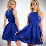 2019 Gece Elbise Modelleri Saks MAvi Kısa Kolsuz Kayık Yaka Kalın Pile İşleme Detaylı Etek