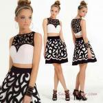 2019 Gece Elbise Modelleri Siyah Kısa İki Parça Kolsuz Kalp Yaka Desenli