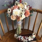 2019 Gelin Buketi Modelleri Karışık Çiçek ve Yaprak Detaylı