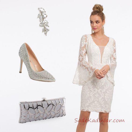 2019 Kadın Elbise Kombinleri Beyaz Kısa Uzun İspanyol Kol Dantel Elbise Gümüş Taşlı Topuklu Ayakkabı Gümüş Çante Taşlı Küpe