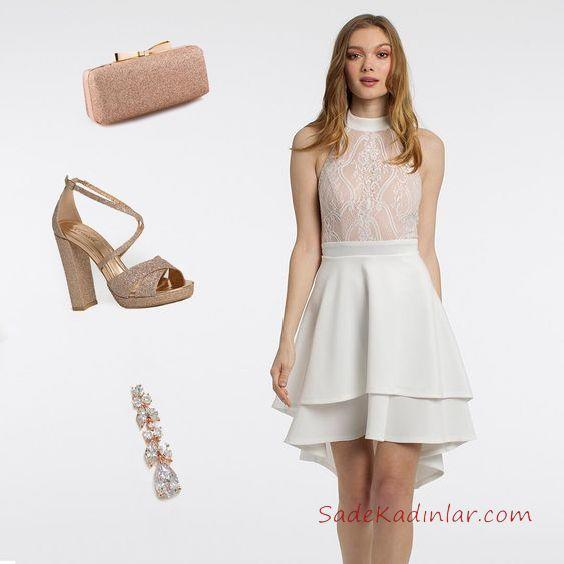 2019 Kadın Elbise Kombinleri Beyaz Önü Kısa Arkası Uzun Hakter Yaka Elbise Pudra Kalın Topuklu Ayakkabı Pudra Çanta Taşlı Küpe