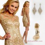 2019 Kadın Elbise Kombinleri Gold Kısa Uzun Kollu İşlemeli Abiye Elbise Stiletto Taşlı Küpe