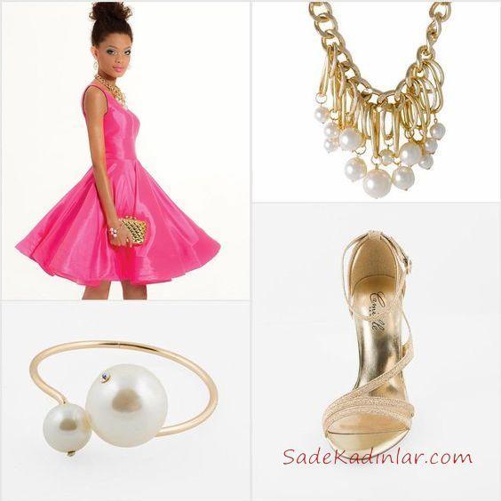 2019 Kadın Elbise Kombinleri Pembe Kısa Saten Askılı Elbise Gold Stiletto İncili Bilekli ve Kolye Gold Çanta