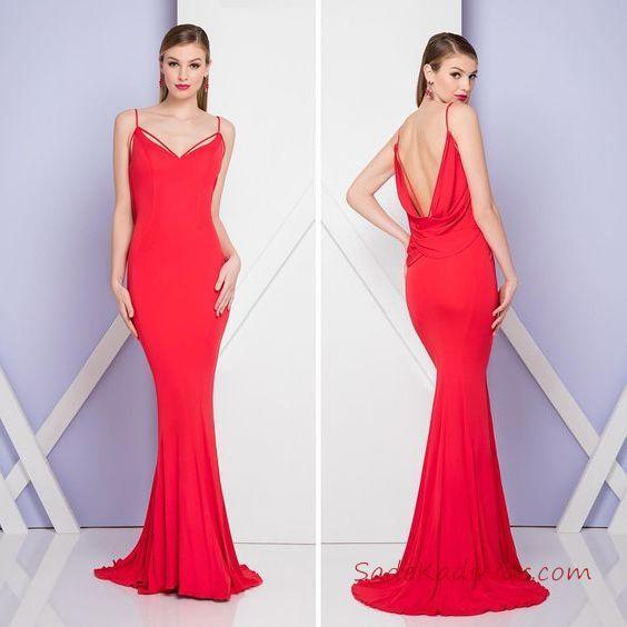 2019 Kırmızı Abiye Elbise Modelleri Kırmızı Uzun Balık Askılı Sırt Dekolteli