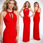 2019 Kırmızı Abiye Elbise Modelleri Kırmızı Uzun Halter Yaka İşlemeli Sırt Dekolteli