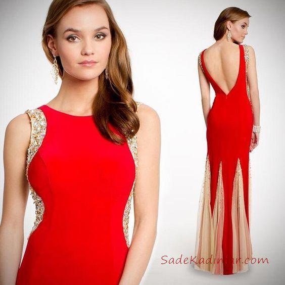 daa6ab03c891d 2019 Kırmızı Abiye Elbise Modelleri Kırmızı Uzun Kolsuz Derin Sırt Dekolteli  Tül Detaylı Etek. «