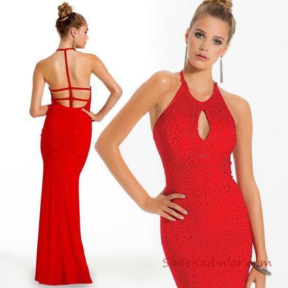 f82bc5ec1016c 2019 Kırmızı Abiye Elbise Modelleri Kırmızı Uzun Pencere Göğüs Detay Sırt  Dekolteli
