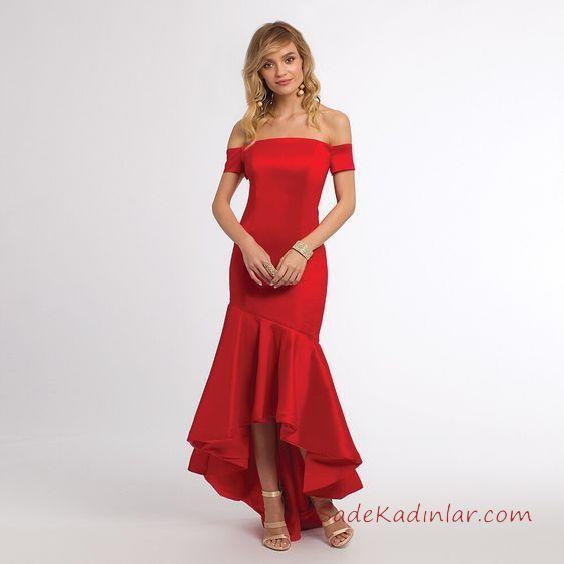1a93a438826f7 2019 Kırmızı Abiye Elbise Modelleri Kırmızı Uzun Saten Straplez Düşük Kol  Fırfırlı Etek. «