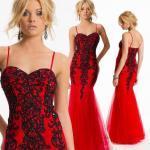 2019 Kırmızı Abiye Elbise Modelleri Kırmızı Uzun İp Askılı Siyah Boncuk İşlemeli