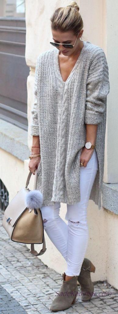 2019 Kış Kombinleri Beyaz Yırtık Pantolon Gri V Yakalı Yandan Yırtmaçlı Desenli KAzak