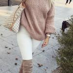 2020 Bayan Kış Kombinleri Beyaz Dar Kesim Pantolon Pudra Yuvarlak Yaka Kazak