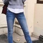2020 Bayan Kış Kombinleri Mavi Kot Pantolon Gri Bisiklet Yaka Kazak