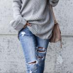 2020 Bayan Kış Kombinleri Mavi Yırtık Kot Pantolon Gri V Yakalı Salaş Kazak