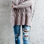 2020 Bayan Kış Kombinleri Mavi Yırtık Kot Pantolon Vizon V Yakalı Desenli Salaş Kazak