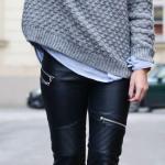 2020 Bayan Kış Kombinleri Siyah Deri Pantolon Gri Bisiklet Yaka Desenli Kazak