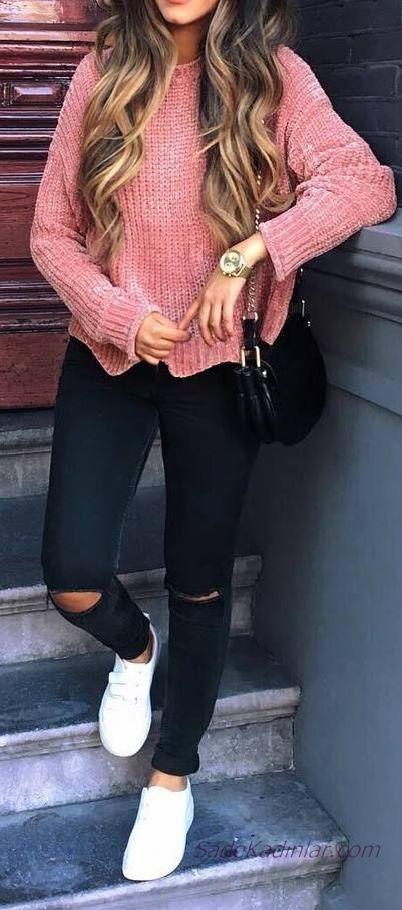 2020 Bayan Kış Kombinleri Siyah Yırtık Kot Pantolon Pembe Yuvarlak Yaka Kazak