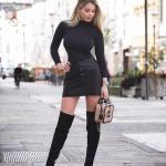 2019 Kışlık Etek Kombinleri Siyah Kısa Önden Düğmeli Etek Siyah Boğazlı Bluz