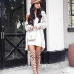 Kışlık Kısa Kazak Elbise Modelleri Ekru Kısa Omzu Açık Sade