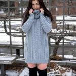 2019 Kışlık Kısa Elbise Modelleri Gri Kısa Boğazlı Desenli