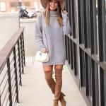 2019 Kışlık Kısa Elbise Modelleri Gri Kısa Boğazlı Salaş