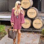 Kışlık Kısa Kazak Elbise Modelleri Pembe Kısa Omzu Açık Düşük Kol Salaş