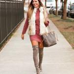 2019 Kışlık Kısa Elbise Modelleri Pembe Kısa YArım Balıkçı Yaka Sade
