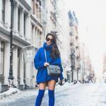 2019 Kışlık Kısa Elbise Modelleri Saks Mavi Kısa Boğazlı Salaş