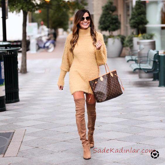 2019 Kışlık Kısa Elbise Modelleri Sarı Kısa Boğazlı Salaş