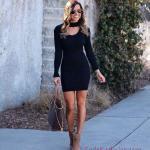 Kışlık Kısa Kazak Elbise Modelleri Siyah Kısa Pencere V Yaka Detaylı