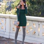 2019 Kışlık Kısa Elbise Modelleri Yeşil Kısa Omzu Açık Karmen Yaka Sade