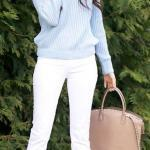 2019 Mavi Kazak Kombinleri Beyaz Skinny Pantolon Mavi Bisiklet Yaka Kazak