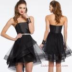 2019 Mini Elbise Modelleri Siyah Kısa Saten Straplez Tül Etek