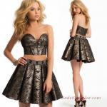 2019 Mini Elbise Modelleri Siyah İki Parça Straplez Kalp Yaka Desenli