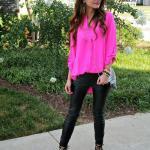 2019 Moda Renkleri Fuşya Uzun Kollu Gömlek Siyah Dar Kesim Pantolon